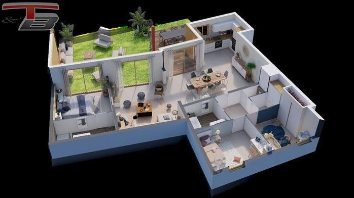 Appartement basse énergie 3 chambres neuf de 125 m² sis au rez avec spacieuse terrasse bien orientée avec vue sur le parc, grand jardin (146m²) et un emplacement de parking privatif.