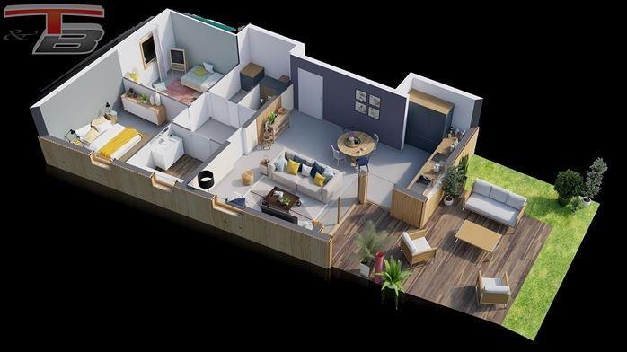 Appartement basse énergie 2 chambres neuf de 80 m² sis au rez avec spacieuse terrasse bien orientée avec vue sur le parc, jardin et un emplacement de parking privatif.